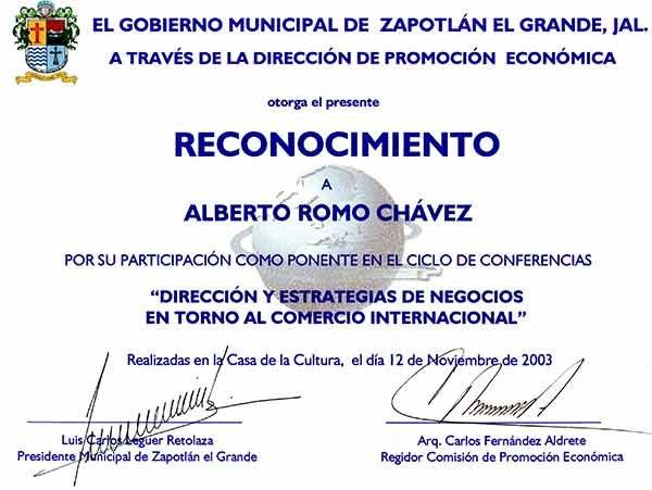 reconocimiento por su ponencia